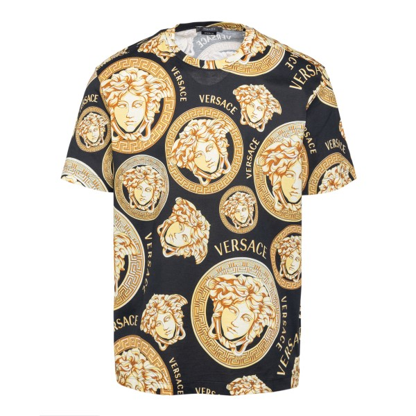 T-shirt nera con stampa Medusa all-over                                                                                                               Versace A76113 fronte