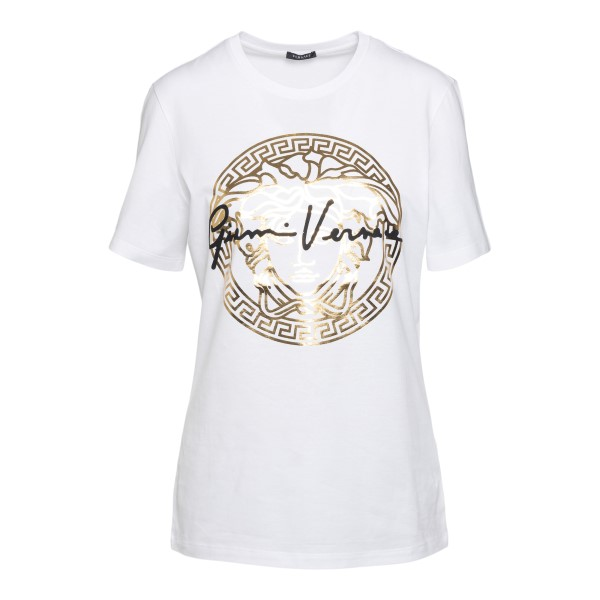 T-shirt bianca con stampa oro                                                                                                                         Versace A87456 fronte