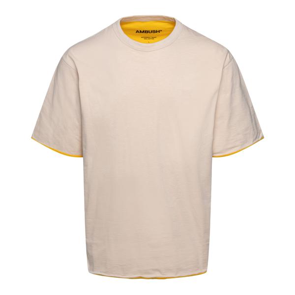 Beige T-shirt with contrasting edges                                                                                                                  Ambush BMAA003F21JER001 back