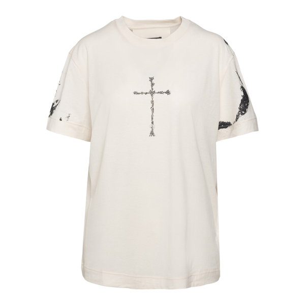 T-shirt bianca con stampe                                                                                                                             Givenchy BW707Z retro