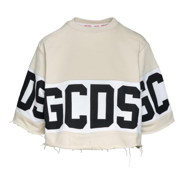 Beige crop T-shirt with logo                                                                                                                          Gcds CC94W020604 back
