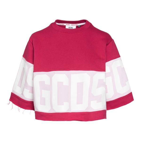 Fuchsia crop T-shirt with logo                                                                                                                        Gcds CC94W020604 back