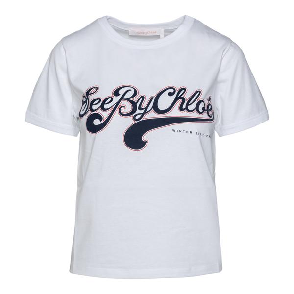 T-shirt bianca con nome brand                                                                                                                         See By Chloe CHS21WJH01 retro