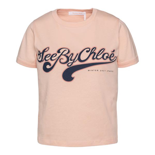 T-shirt rosa con nome brand                                                                                                                           See By Chloe CHS21WJH01 retro
