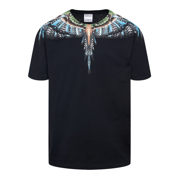 Black T-shirt with multicolored wings print                                                                                                           Marcelo Burlon CMAA018F21JER003 back