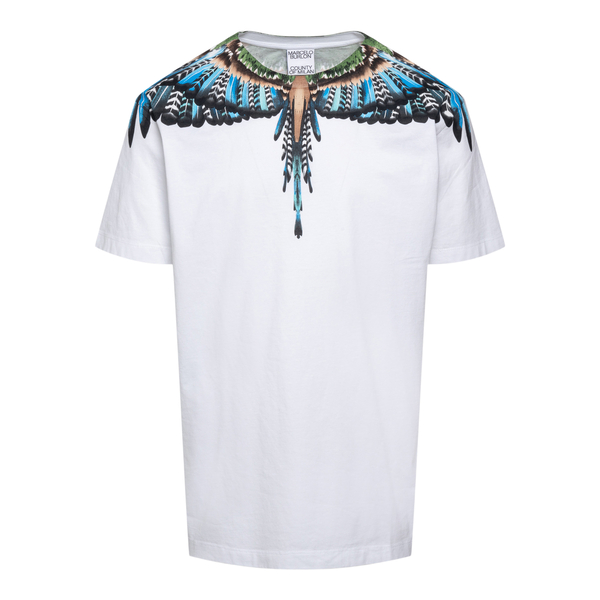 White T-shirt with multicolored wings print                                                                                                           Marcelo Burlon CMAA018F21JER003 back
