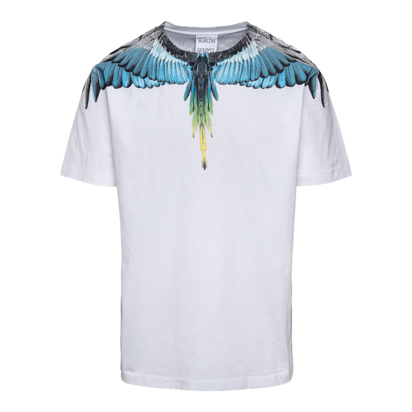 White T-shirt with blue feathers                                                                                                                      Marcelo Burlon CMAA018F21JER001 back