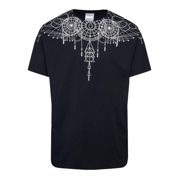 Black T-shirt with geometric print                                                                                                                    Marcelo Burlon CMAA018F21JER006 back