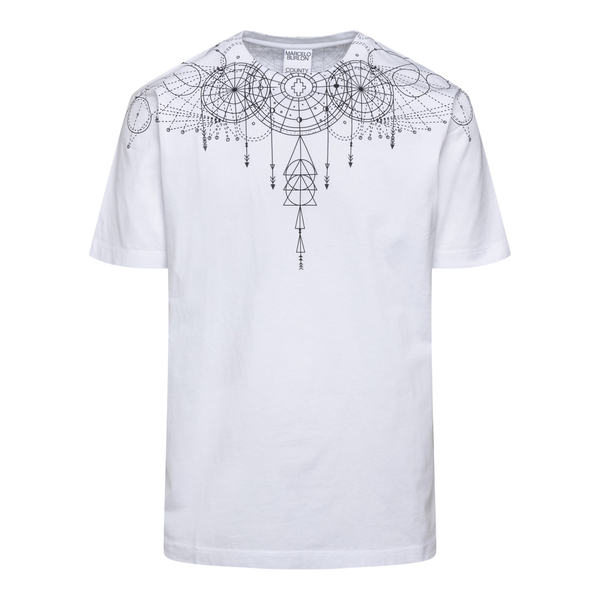 White T-shirt with geometric print                                                                                                                    Marcelo Burlon CMAA018F21JER006 back
