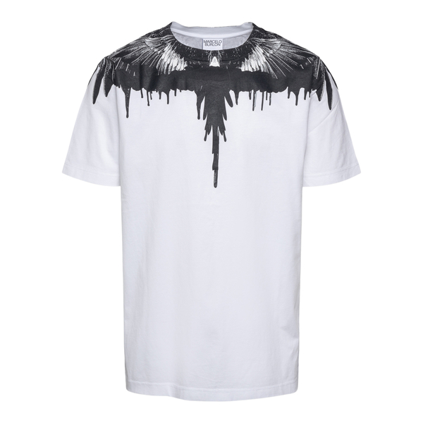 White T-shirt with feathers print                                                                                                                     Marcelo Burlon CMAA018F21JER004 back