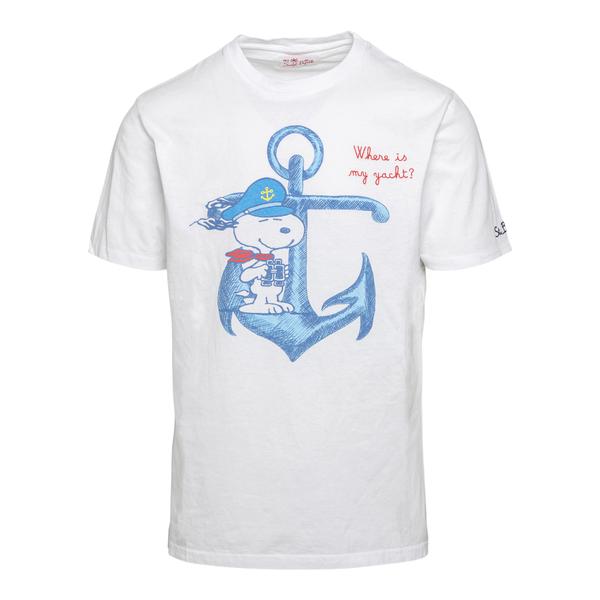 T-shirt bianca con Snoopy                                                                                                                             Saint Barth EMBNAVYSNOOPYYC retro
