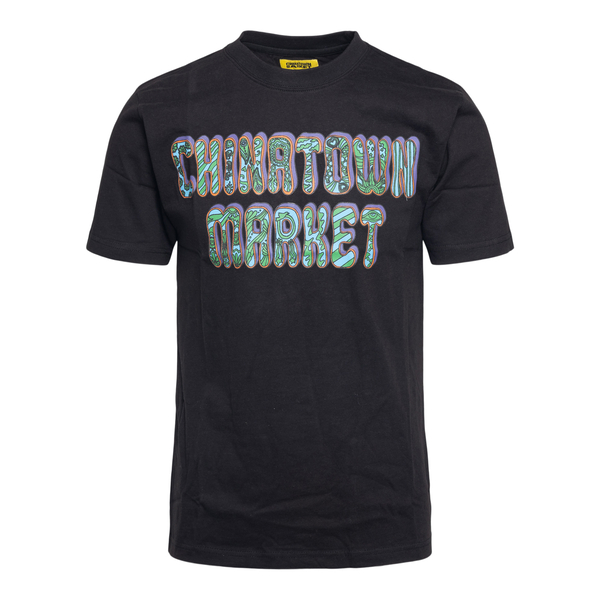 Black T-shirt with brand name print                                                                                                                   Chinatown Market F201990012 back