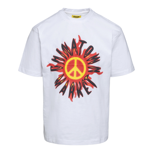 White T-shirt with peace symbol                                                                                                                       Chinatown Market F201990010 back