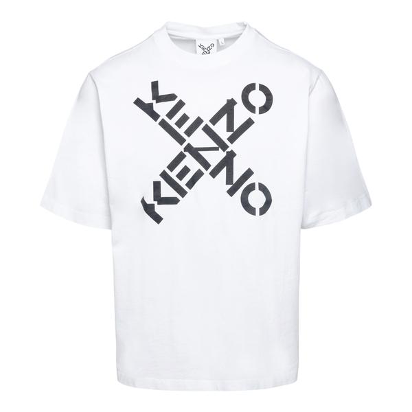 White T-shirt with crossed logo print                                                                                                                 Kenzo FA65TS502 back
