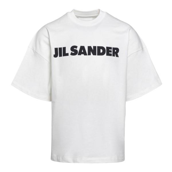 White T-shirt with black logo                                                                                                                         Jil sander JSMS707045 front