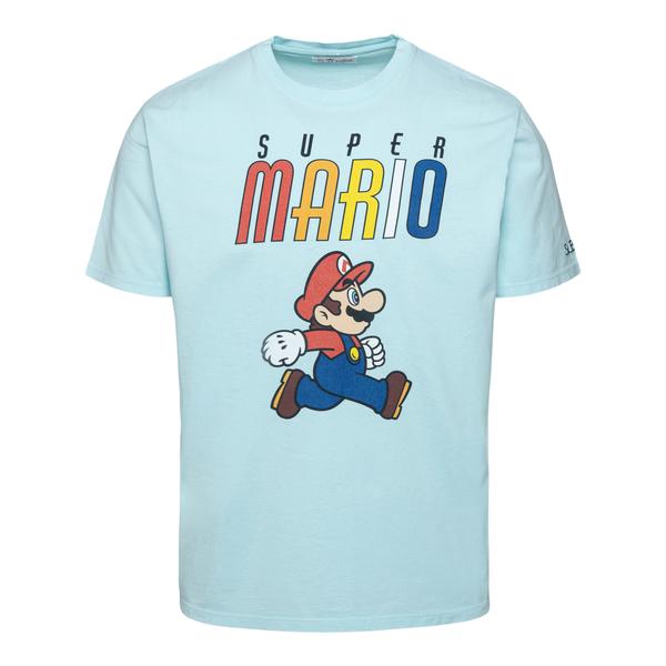 T-shirt azzurra con stampa Super Mario                                                                                                                Saint Barth MARIORAINBOW retro