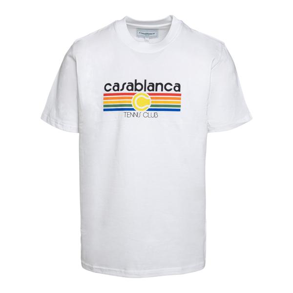 T-shirt bianca con stampa multicolore                                                                                                                 Casablanca MS21TS001 retro