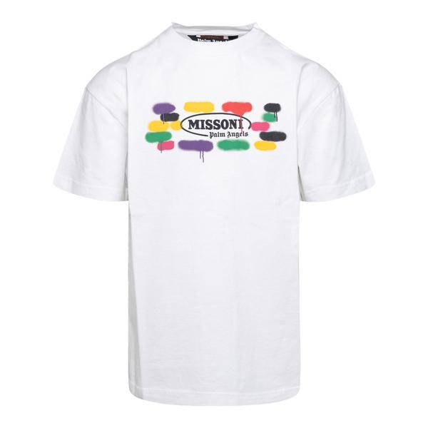 T-shirt bianca con stampa effetto vernice                                                                                                             Palm Angels X Missoni PMAA001F21JER028 retro