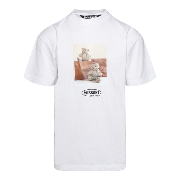 T-shirt bianca con stampa orsetti                                                                                                                     Palm Angels X Missoni PMAA001F21JER031 retro