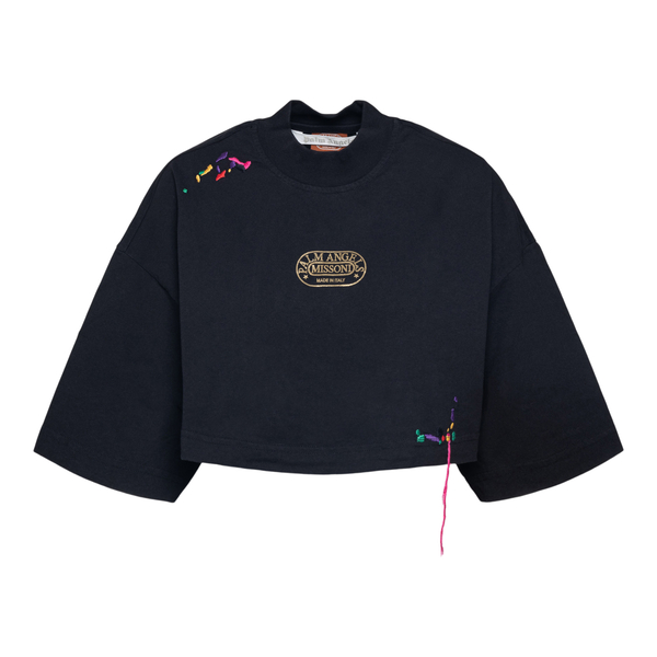 Black crop T-shirt with gold logo                                                                                                                     Palm Angels X Missoni PWAA040F21JER001 back