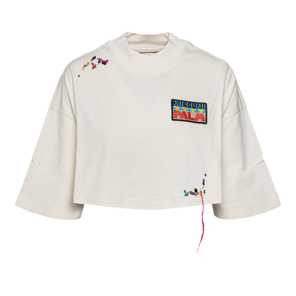 White crop T-shirt with graphic print                                                                                                                 Palm Angels X Missoni PWAA040F21JER003 back