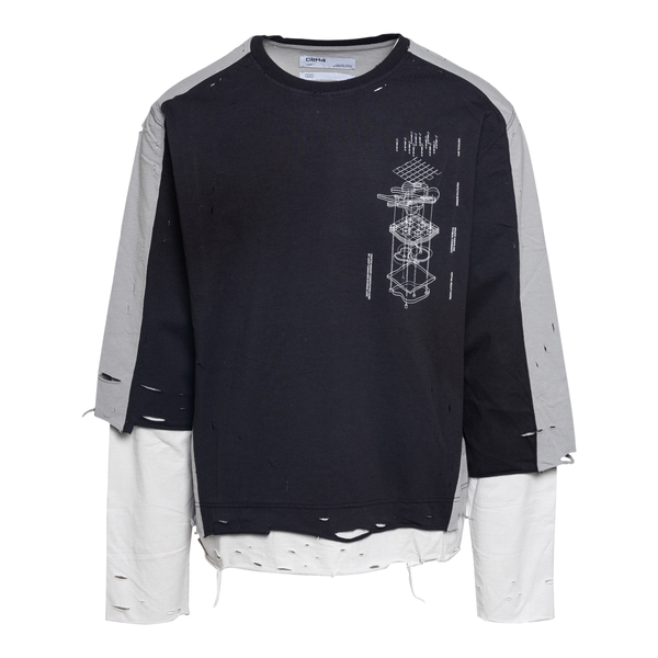 Layered sweatshirt with a worn effect                                                                                                                 C2h4 R004TE044 back