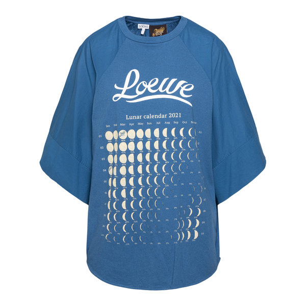 Oversized blue T-shirt with lunar calendar                                                                                                            Loewe Paula's Ibiza S616Y22X02 back