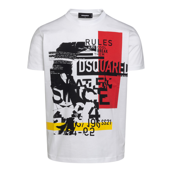 White T-shirt with graphic print                                                                                                                      Dsquared2 S71GD1054 back
