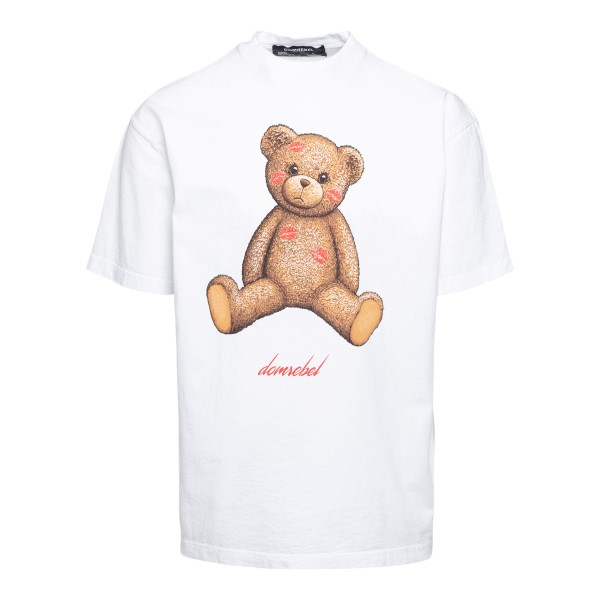 White T-shirt with teddy bear and phrase                                                                                                              Domrebel SMOOCHBOXT front