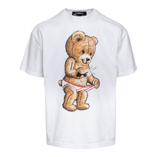 White T-shirt with teddy bear graphic print                                                                                                           Domrebel SNAPBOXT front