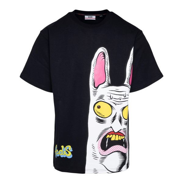 Black T-shirt with graphic print                                                                                                                      Gcds SS21M020072 front