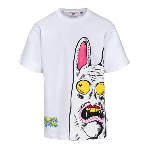 White T-shirt with graphic print                                                                                                                      Gcds SS21M020072 front