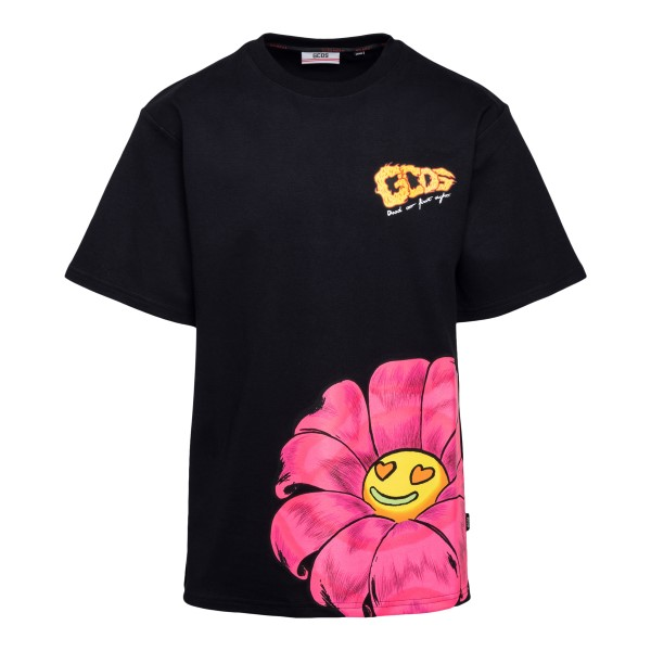 Black T-shirt with front and back print                                                                                                               Gcds SS21M020069 front