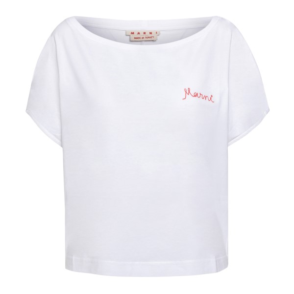White T-shirt with embroidery                                                                                                                         Marni THJE0050MX back