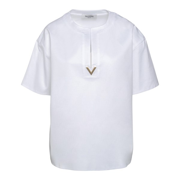 White oversized t-shirt with gold logo                                                                                                                Valentino VB3MG11T back