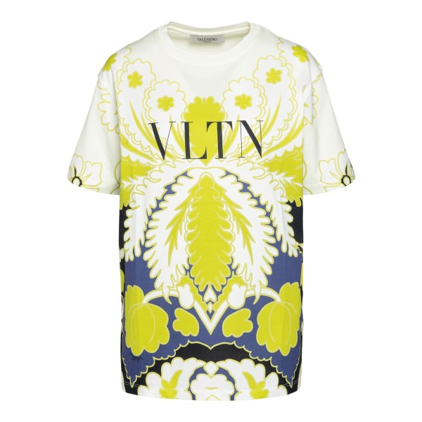 White T-shirt with graphic design and logo                                                                                                            Valentino VB3MG11W back