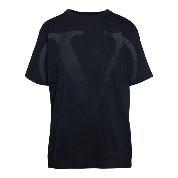 Black T-shirt with tone-on-tone logo                                                                                                                  Valentino VB3MG11C back