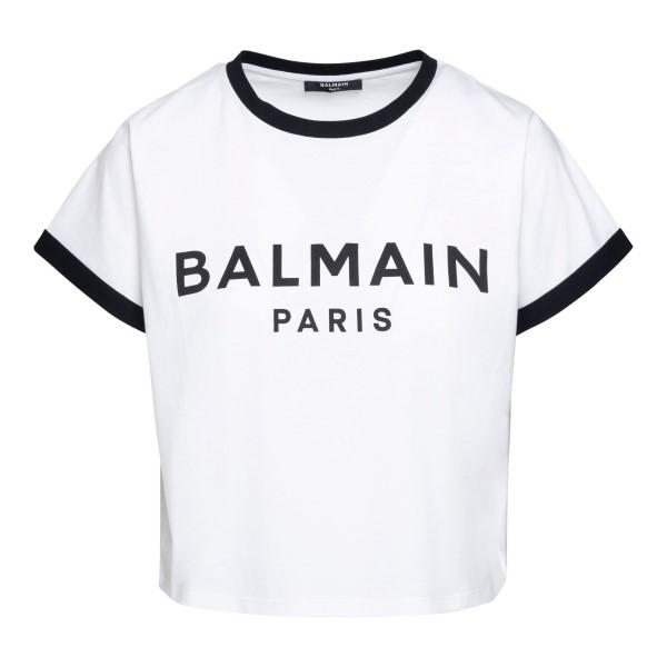 White crop T-shirt with logo                                                                                                                          Balmain VF11357B001 front