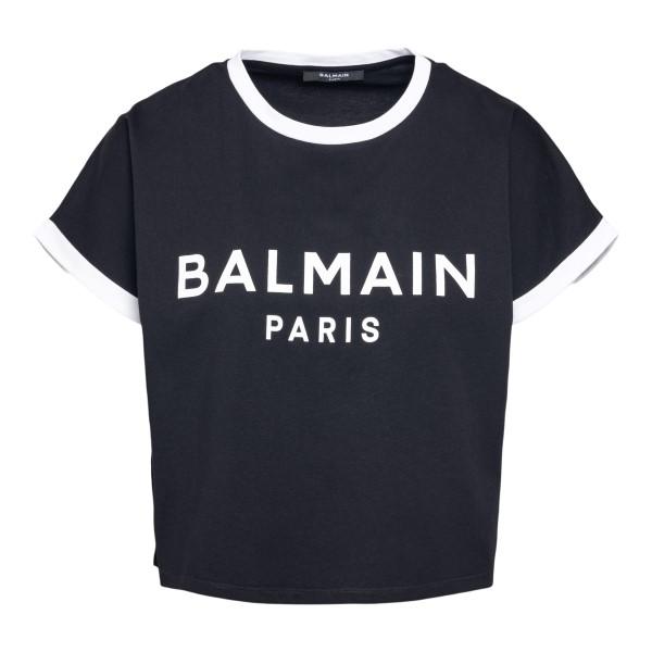 Black crop T-shirt with logo                                                                                                                          Balmain VF11357B001 front