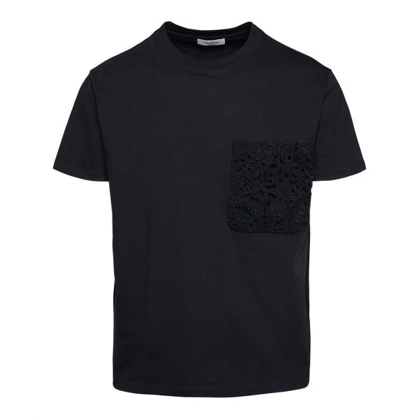 T-shirt nera con tasca ricamata                                                                                                                       Valentino VV0MG10V_1 retro