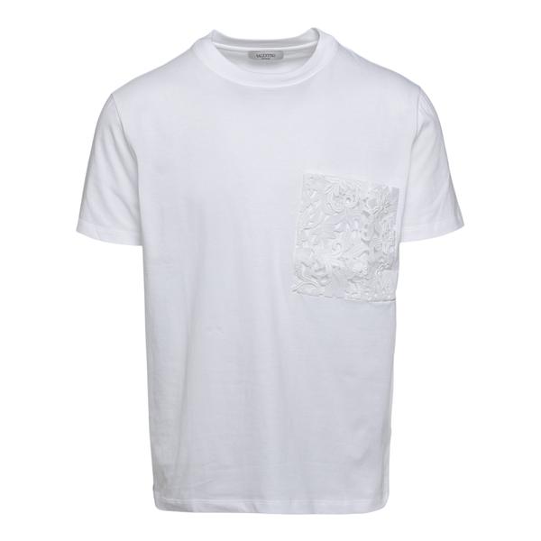 T-shirt bianca con taschina ricamata                                                                                                                  Valentino VV0MG10V_1 retro