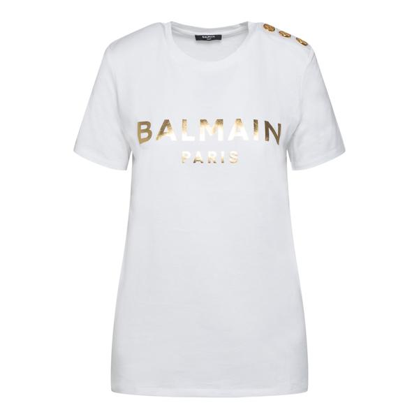 White T-shirt with gold print                                                                                                                         Balmain WF1EF005B097 back