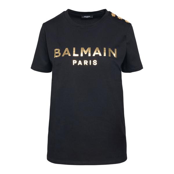 Black T-shirt with gold print                                                                                                                         Balmain WF1EF005B097 back