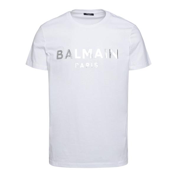 T-shirt bianca con stampa argento                                                                                                                     Balmain WH1EF000B121 retro