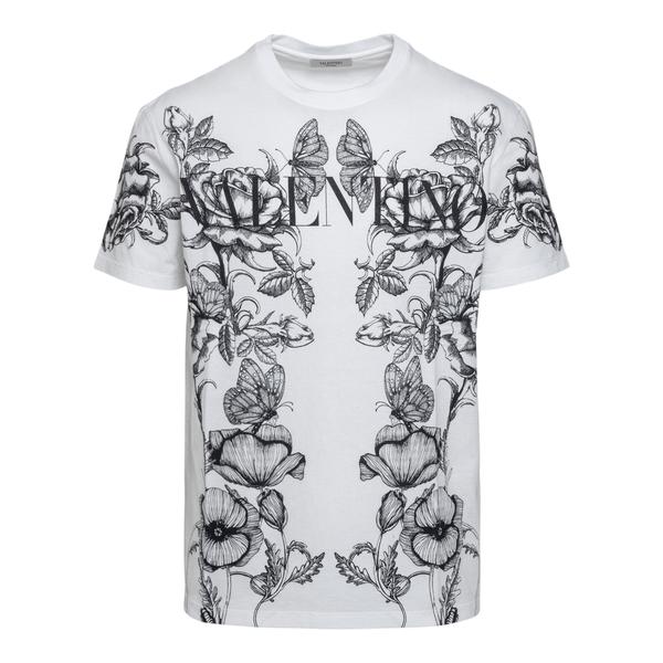T-shirt bianca con stampa floreale                                                                                                                    Valentino WV3MG10V retro