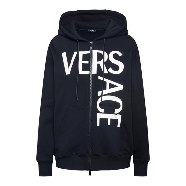 Felpa nera con nome brand e Medusa                                                                                                                    Versace 1001049 retro