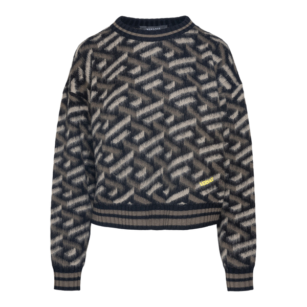 Brown sweater with geometric pattern                                                                                                                  Versace 1002208 back