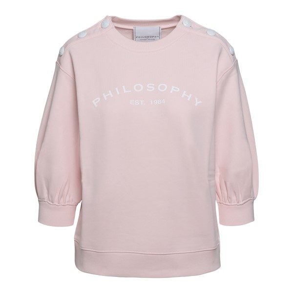 Pink sweatshirt with logo and buttons                                                                                                                 Philosophy 1701 front