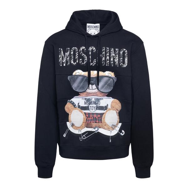 Black sweatshirt with teddy bear                                                                                                                      Moschino 1701 back