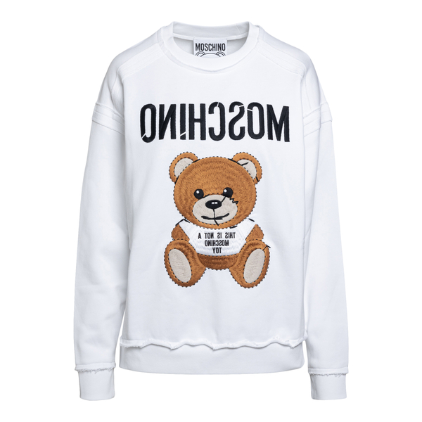White sweatshirt with maxi bear embroidery                                                                                                            Moschino 1703 back